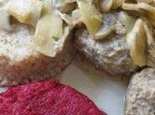 Boulettes boeuf champignons, orge betteraves piquantes