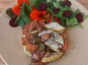 Tartare saumon poires salade fleurie
