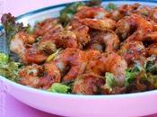 Crevettes noix coco safran accompagnées d'une salade mangue