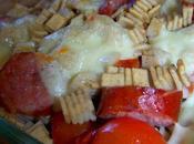 Gratinade crozets saucisse fumée, tomates confites Mozzarella