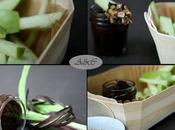 Idée Goûter ludique, sain gourmand: cornet /barquette Frites pomme granny, sauce choco- carambar pralin