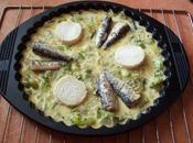 Quiche (sans pâte) poireaux, chèvre sardines