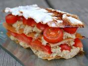 Mamina Olif, MENU Millefeuilles tomates aubergines, sardines culatello, poire Belle Hélène