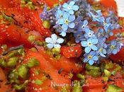 Carpaccio Fraises Earl Grey fleurs Myosotis