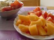 Brochettes l'été melon, tomate, jambon sec, mozarella