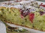 Gâteau moelleux framboises, pistaches chocolat blanc amande