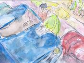 Accident circulation constat amiable dessin aquarellé