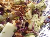 Salade concombre saveurs piquantes graines germées radis, gingembre frits vinaigrette d'agrume d'aloé vera