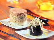 Maki foie gras huîtres tortilla enveloppée dans feuille d'algue, farcie pomme, céleri