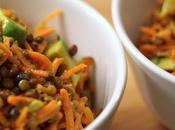 Salade carottes râpées, lentilles avocats
