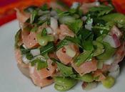 Tartare saumon fèves l'huile truffe