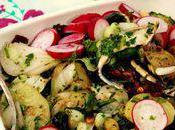 Pomme terre nouvelle, tomates séchées filet d'anchois salade