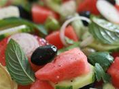 Salade pastèque feta olives noires