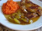 Côte veau, prunes purée carottes