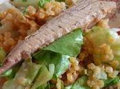 Salade lentilles corail filet maquereau aromates
