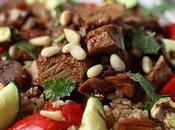 Salade tiède agneau saveurs orientales