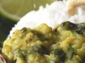 "Moong daal with watercress Daal (lentilles ""moong"") cresson"