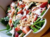 Salade pousses d'épinards fraises