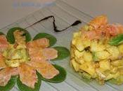 Tartare d'avocat, pomme curry étoile saumon façon carpaccio.