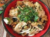 Nouilles udon tofu l'ail noix cajou