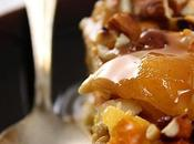 Pouding pain pommes amandes, sauce caramel l'Amaretto