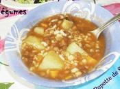 Soupe lentilles ,riz légumes