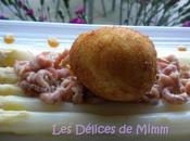 frit d'asperges crevettes grises, vinaigrette caramel d'orange