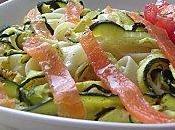Salade tagliatelles, saumon courgettes