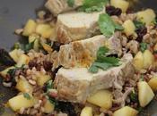 Filet mignon porc curry, sauté pommes raisins secs