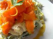 Cabillaud Vapeur Marinade Mandarine; Fondue Poireaux Tagliatelles Carottes