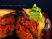 Gâteau d'aubergine viande tomates