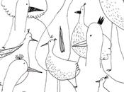 oiseaux dessinés dans file d'attentedu Jean...