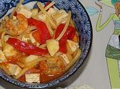 poivrons grillés, Tofu, lamelles sèches, crevettes pousses bambou