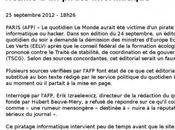 """Exclusif quotidien Monde"""" victime d'un hacker selon l'AFP"""