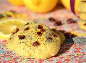 Cookies fondants canneberges, citron graines pavot