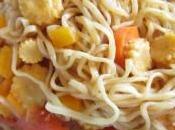 nouilles legumes poulet sauce soja
