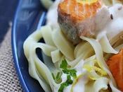 Tagliatelles saumon, sauce fromage blanc sésame