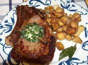 Côte boeuf Bazas beurre composé pommes terre Noirmoutiers, sautées l'ail thym