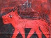 """""""Loup"""", dessin papier réhabilité."""