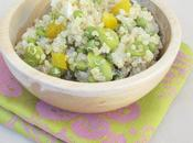 Salade quinoa, fèves petits-pois