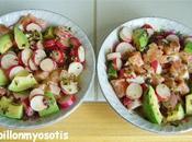 Salade tartare saumon avocat radis