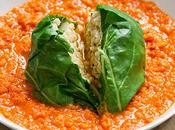 Blettes farcies risotto d'orge herbes sauce tomate maison