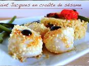 Saint Jacques croûte sésame, sauce chocolat, risotto girolles