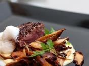 Filet canard grue cacao, crémeux maïs amande champignons