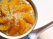 Aujourd'hui, j'ai testé porridge vert, suprêmes d'orange graines sésame