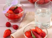 Salade rhubarbe fraises infusées verveine vanille