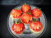 Tartelettes chocolat lait, fraises rhubarbe