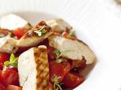 Salade tomates cerises poulet grillé, réveillée vinaigre pulpe d'olives noires chez Clovis