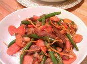Sauté boeuf, haricots verts, clémentines orange