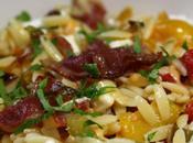 Salade pâtes feta, poivrons coppa grillés